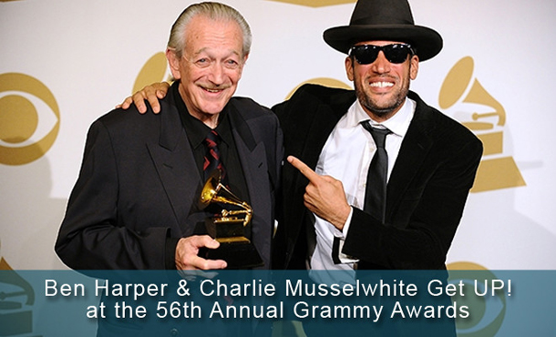 Charlie Musselwhite and Ben Harper celebrate their recent Grammy Awards.