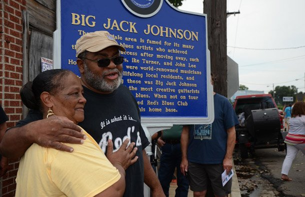 Mrs. Angenette Johnson and Red Paden standing in front of the Big Jack Johnson Blues Trail marker