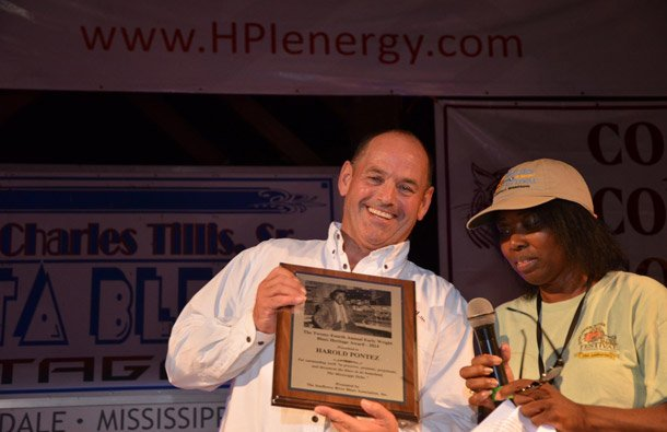 Martin Marsh from Texas smiling over receiving the Early Wright Blues Heritage Award